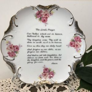 The Lords Prayer decorative plate pink roses